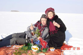 On the sea ice with wife